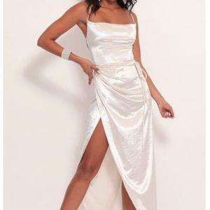 Velvet maxi dress - white/pearl
